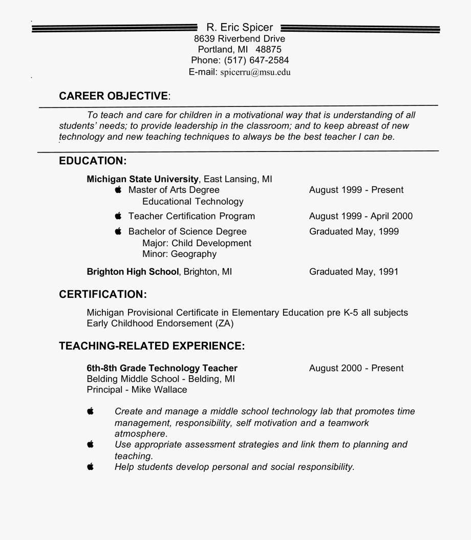 Free Experienced Teacher Resume Objective Templates Objective