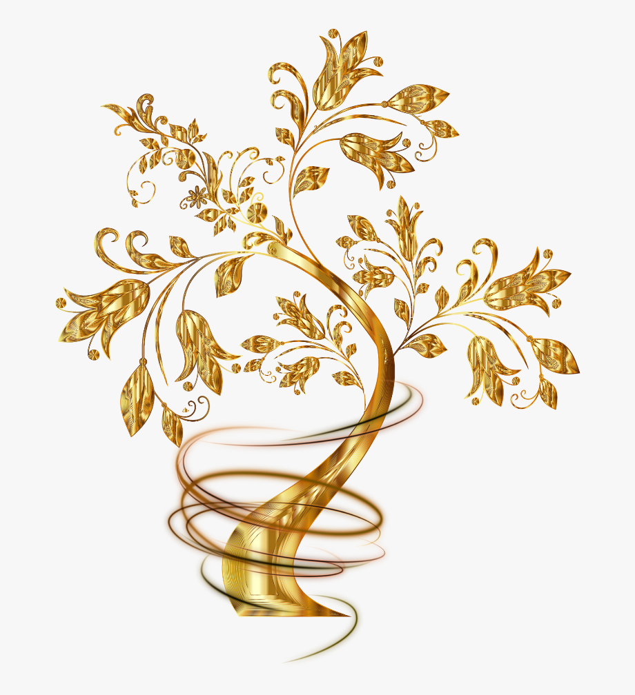 Gold Golden Tree Trees Swirl Swirls Fantasy Clear
