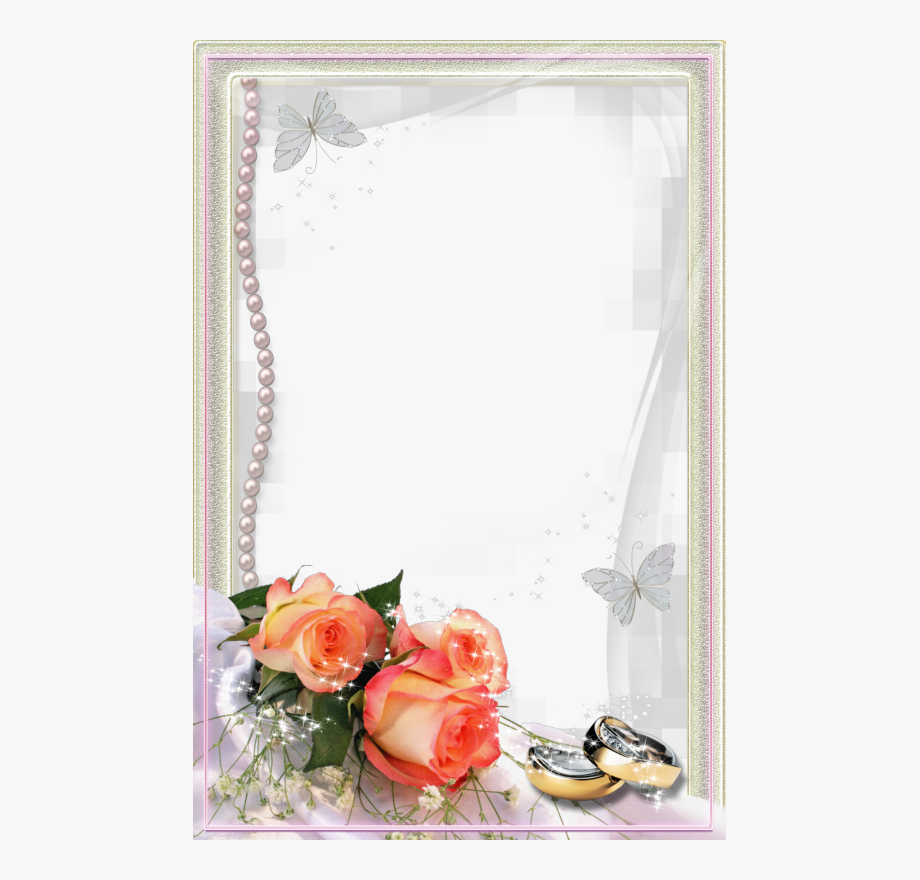 Beautiful Transparent Wedding Photo Frame With Rings