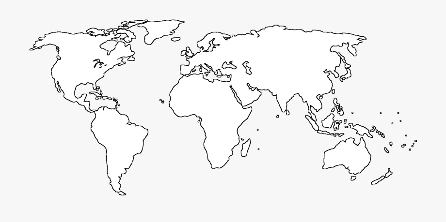 World Black And White Blank Map Of The World Transparent