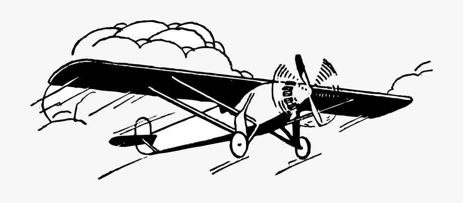 Vintage Airplane Clipart Black And White Transparent Cartoon