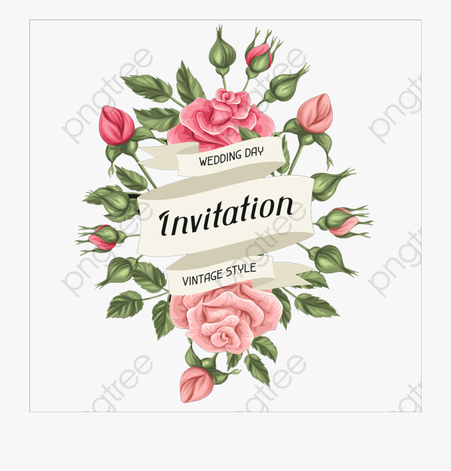 Tarjeta De Invitacion De Rosas Transparent Cartoon Free