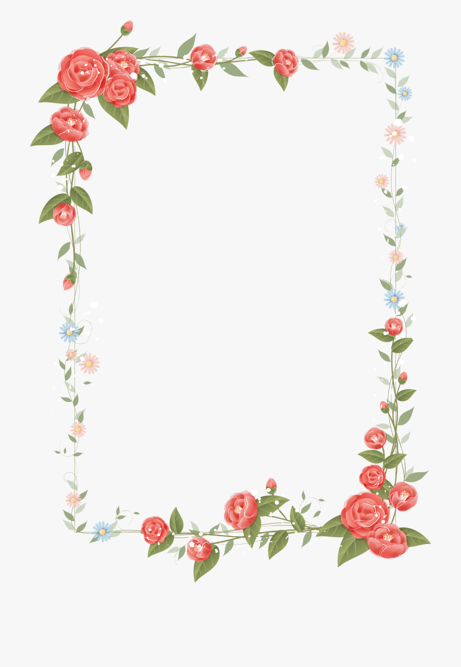 Rose Frame Design Floral Flowers Border Clipart Border Flower