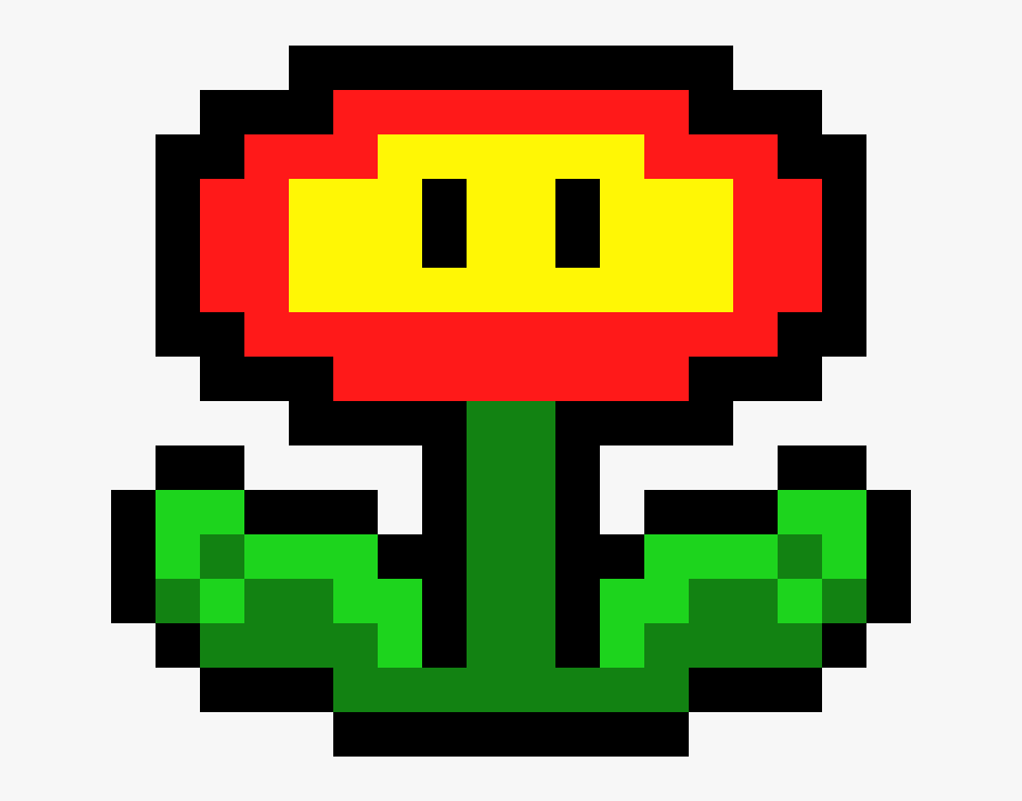 Super Mario Bros Mario Fire Flower Pixel Art Transparent