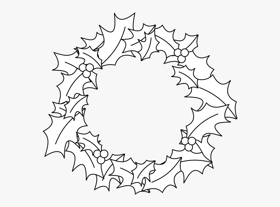 White Christmas Wreath Clipart - Black
