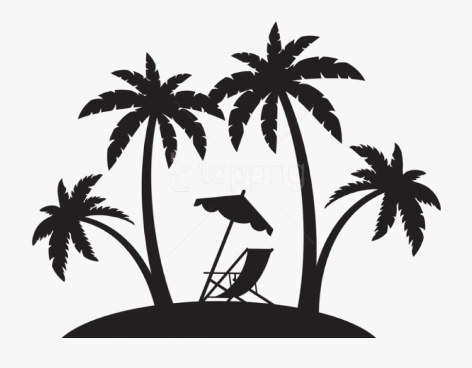 Beach Chair Clipart Black And White - Beach Palm Tree ...