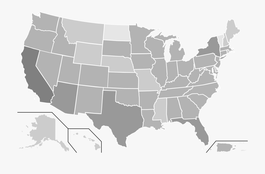 Us State Outlines Transparent Usa Map Vector Simple