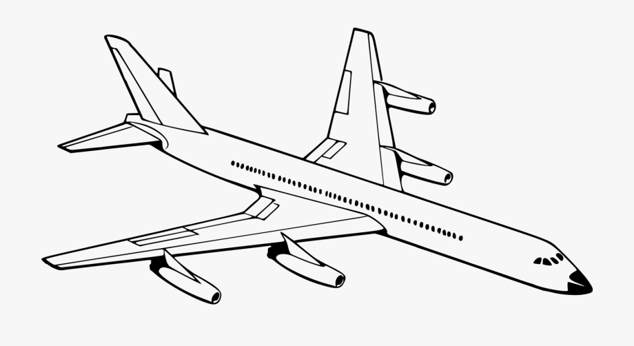 Airplane Aircraft Drawing Aviation Black And White Airplane