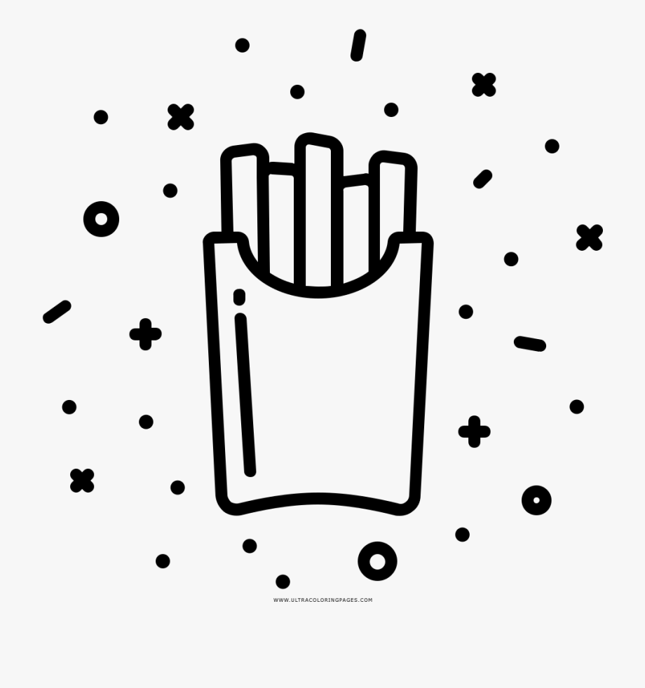 - French Fries Coloring Page - Chicken Nugget Icon Black And White